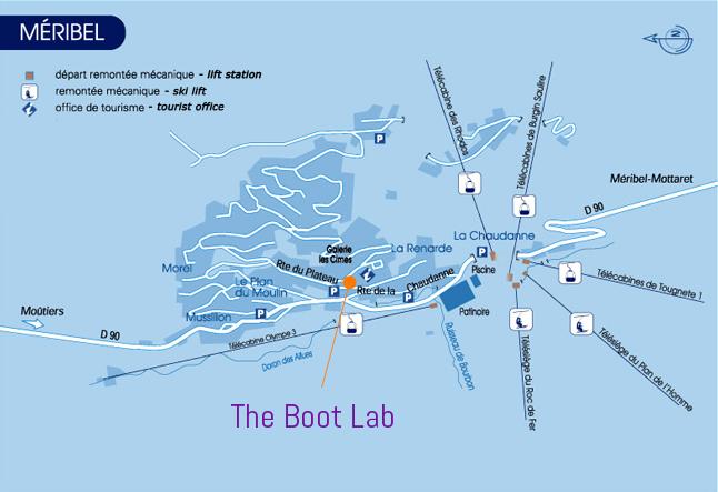 Meribel Boot Lab map