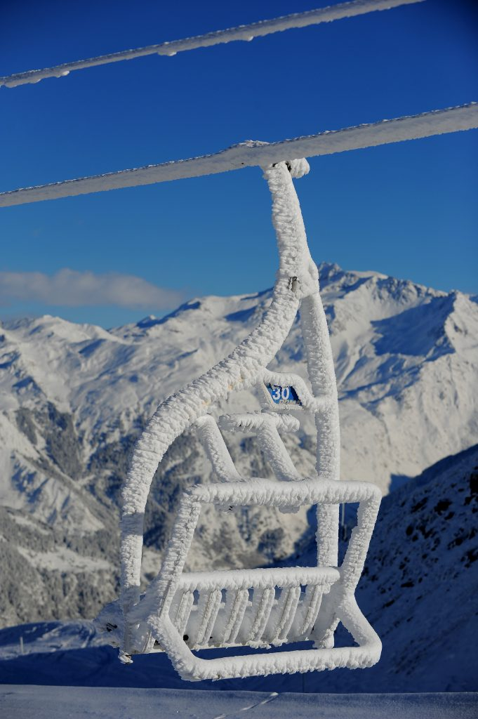 Snow covered chairlifts, Courchevel